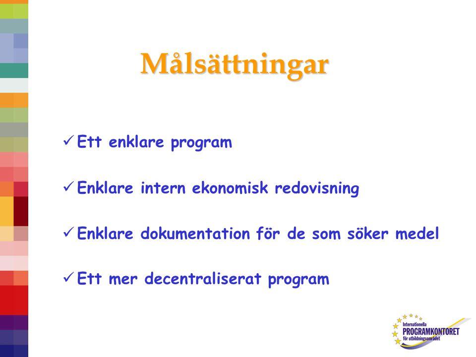 Målsättningar Ett enklare program Enklare intern ekonomisk redovisning Enklare dokumentation för de som söker medel Ett mer decentraliserat program