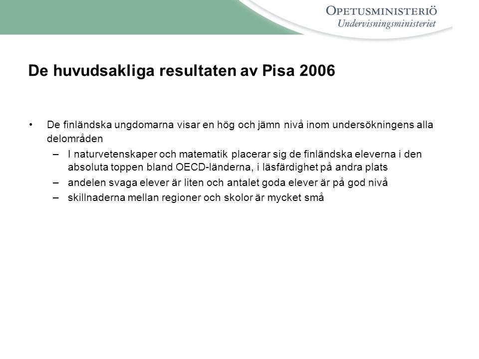 De huvudsakliga resultaten av Pisa 2006 De finländska ungdomarna visar en hög och jämn nivå inom undersökningens alla delområden –I naturvetenskaper och matematik placerar sig de finländska eleverna i den absoluta toppen bland OECD-länderna, i läsfärdighet på andra plats –andelen svaga elever är liten och antalet goda elever är på god nivå –skillnaderna mellan regioner och skolor är mycket små