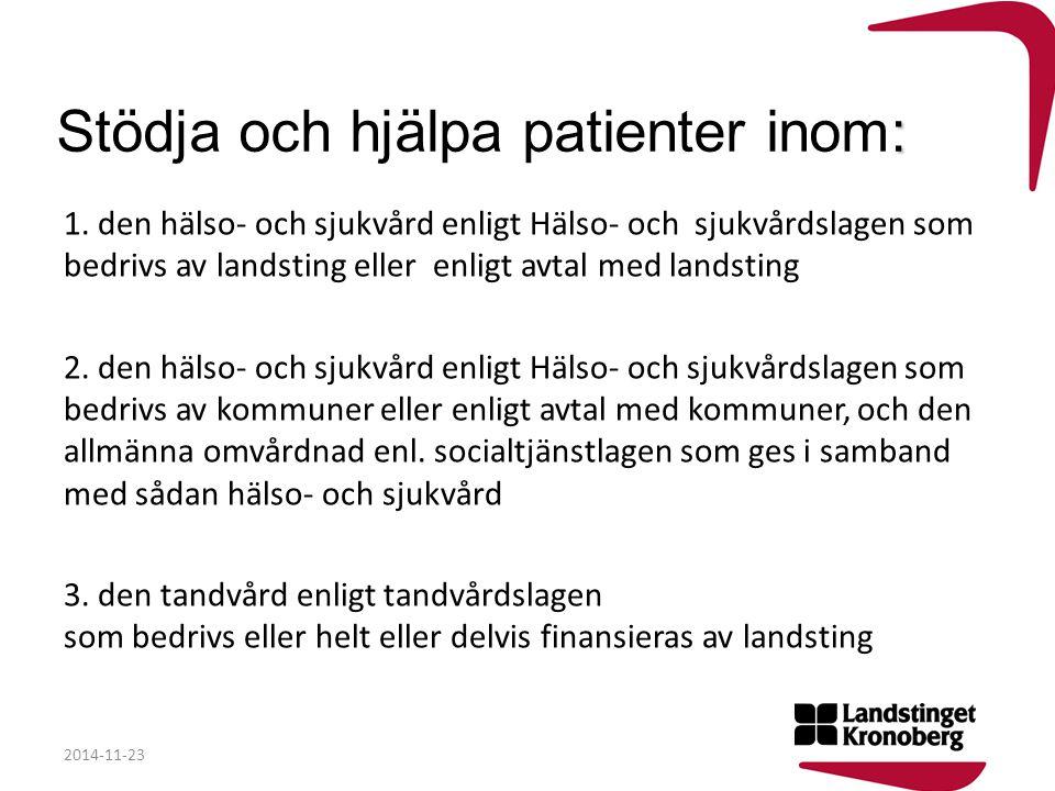 : Stödja och hjälpa patienter inom: 1. den hälso- och sjukvård enligt Hälso- och sjukvårdslagen som bedrivs av landsting eller enligt avtal med landst