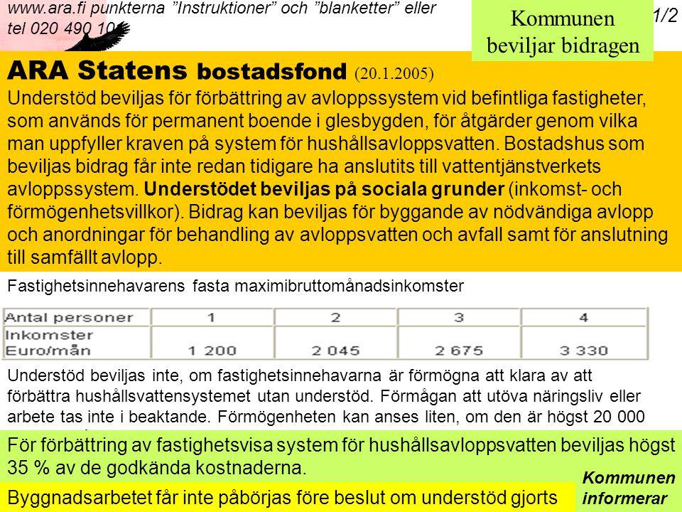 Päivämäärä:1.9.2005 Tekijä:Jenny Sundqvist ARA Statens bostadsfond (20.1.2005) Understöd beviljas för förbättring av avloppssystem vid befintliga fastigheter, som används för permanent boende i glesbygden, för åtgärder genom vilka man uppfyller kraven på system för hushållsavloppsvatten.