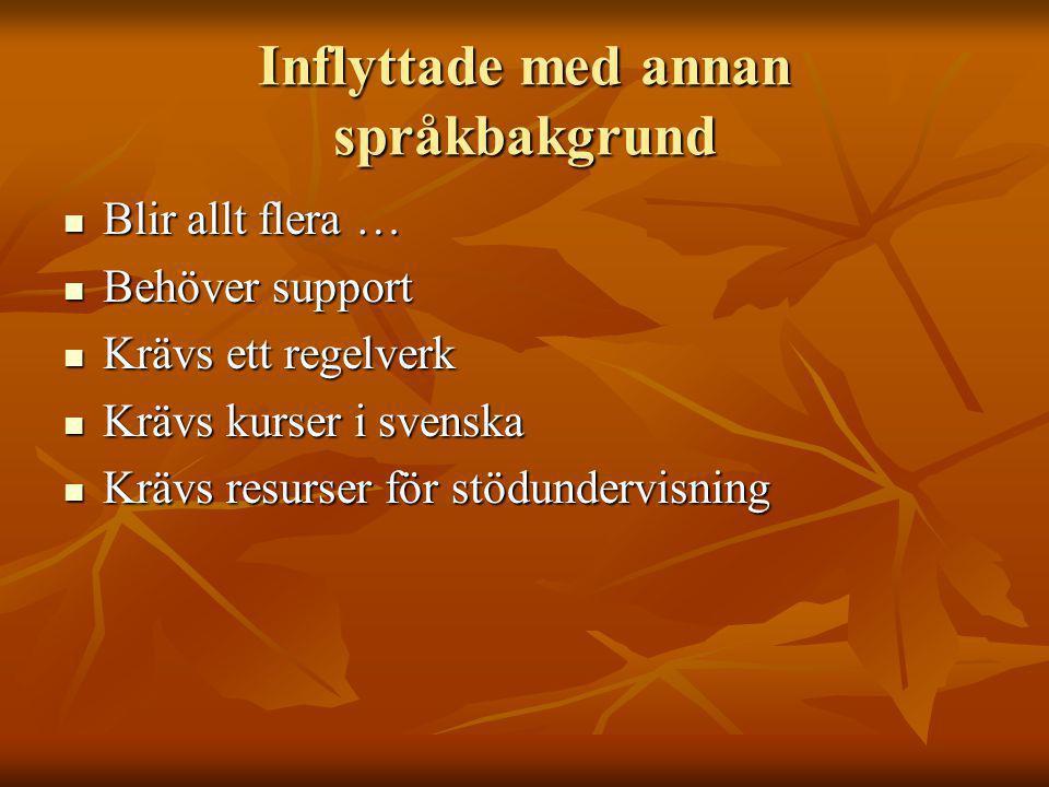 Inflyttade med annan språkbakgrund Blir allt flera … Blir allt flera … Behöver support Behöver support Krävs ett regelverk Krävs ett regelverk Krävs kurser i svenska Krävs kurser i svenska Krävs resurser för stödundervisning Krävs resurser för stödundervisning