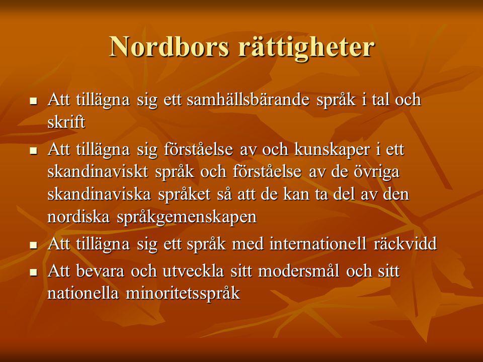Nordbors rättigheter Att tillägna sig ett samhällsbärande språk i tal och skrift Att tillägna sig ett samhällsbärande språk i tal och skrift Att tillägna sig förståelse av och kunskaper i ett skandinaviskt språk och förståelse av de övriga skandinaviska språket så att de kan ta del av den nordiska språkgemenskapen Att tillägna sig förståelse av och kunskaper i ett skandinaviskt språk och förståelse av de övriga skandinaviska språket så att de kan ta del av den nordiska språkgemenskapen Att tillägna sig ett språk med internationell räckvidd Att tillägna sig ett språk med internationell räckvidd Att bevara och utveckla sitt modersmål och sitt nationella minoritetsspråk Att bevara och utveckla sitt modersmål och sitt nationella minoritetsspråk