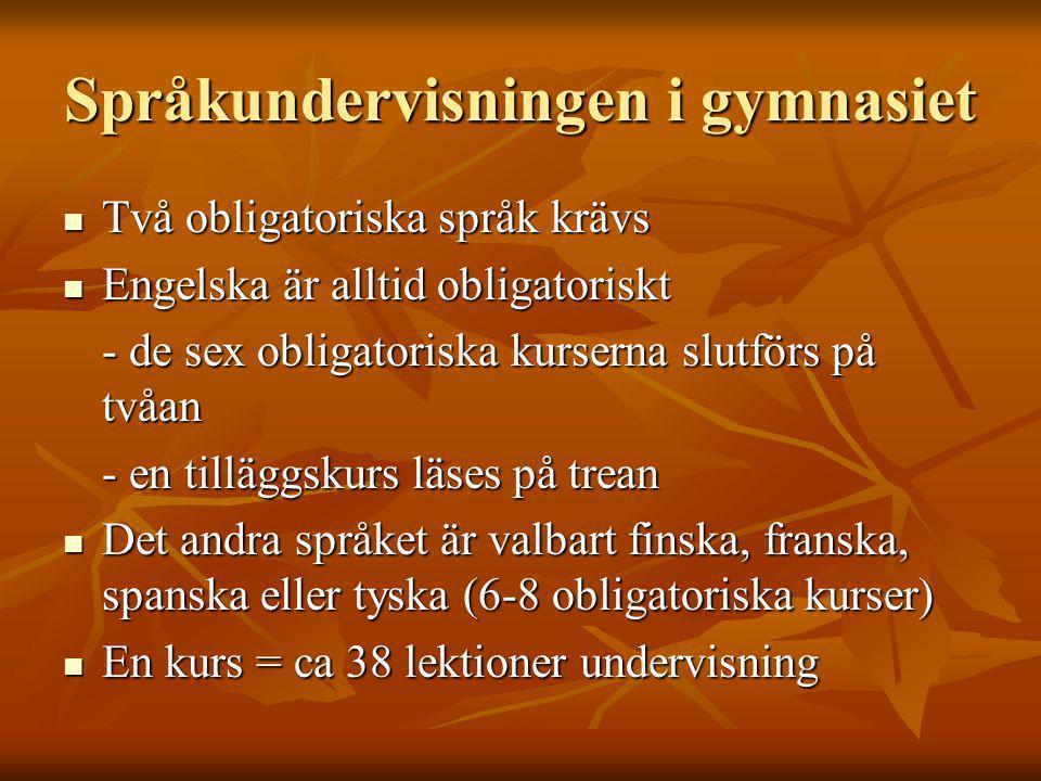 Språkundervisningen i gymnasiet Två obligatoriska språk krävs Två obligatoriska språk krävs Engelska är alltid obligatoriskt Engelska är alltid obligatoriskt - de sex obligatoriska kurserna slutförs på tvåan - en tilläggskurs läses på trean Det andra språket är valbart finska, franska, spanska eller tyska (6-8 obligatoriska kurser) Det andra språket är valbart finska, franska, spanska eller tyska (6-8 obligatoriska kurser) En kurs = ca 38 lektioner undervisning En kurs = ca 38 lektioner undervisning