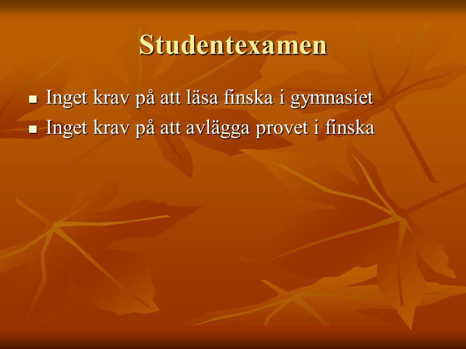 Studentexamen Inget krav på att läsa finska i gymnasiet Inget krav på att läsa finska i gymnasiet Inget krav på att avlägga provet i finska Inget krav på att avlägga provet i finska