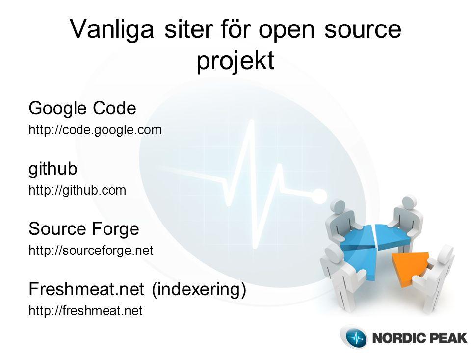 Vanliga siter för open source projekt Google Code http://code.google.com github http://github.com Source Forge http://sourceforge.net Freshmeat.net (indexering) http://freshmeat.net