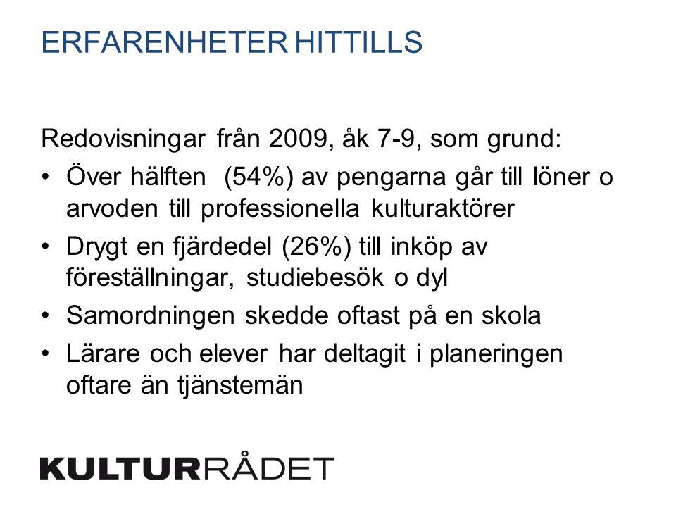 ERFARENHETER HITTILLS Redovisningar från 2009, åk 7-9, som grund: Över hälften (54%) av pengarna går till löner o arvoden till professionella kulturak
