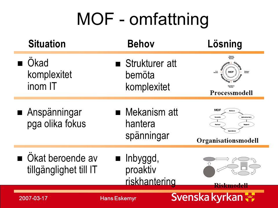 Hans Eskemyr2007-03-17 MOF - omfattning Anspänningar pga olika fokus Mekanism att hantera spänningar Organisationsmodell Ökat beroende av tillgängligh