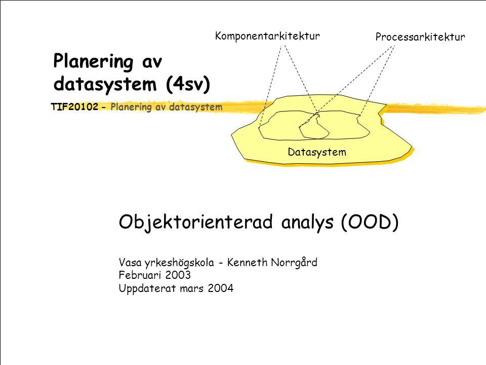 TIF20102 - Planering av datasystem Planering av datasystem (4sv) Objektorienterad analys (OOD) Vasa yrkeshögskola - Kenneth Norrgård Februari 2003 Uppdaterat mars 2004 Processarkitektur Komponentarkitektur Datasystem