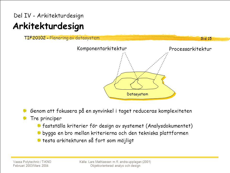 TIF20102 - Planering av datasystem Sid 15 Vaasa Polytechnic / T-KNO Februari 2003/Mars 2004 Källa: Lars Mathiassen m.fl.
