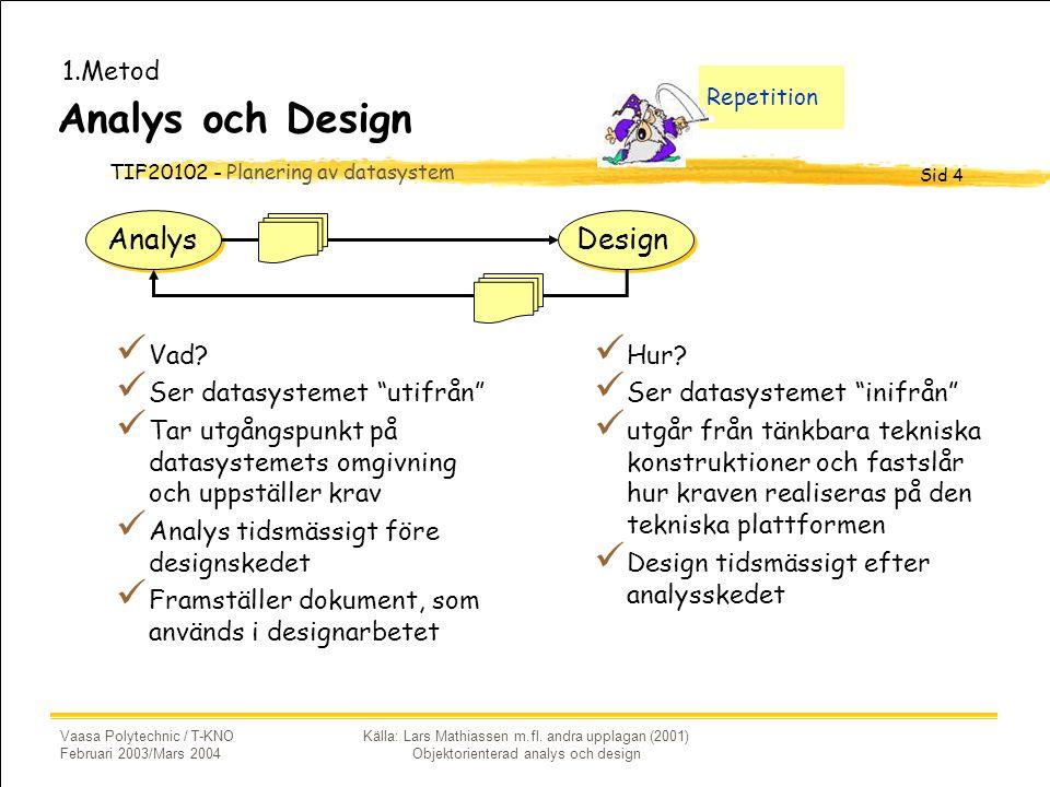 TIF20102 - Planering av datasystem Sid 4 Vaasa Polytechnic / T-KNO Februari 2003/Mars 2004 Källa: Lars Mathiassen m.fl.