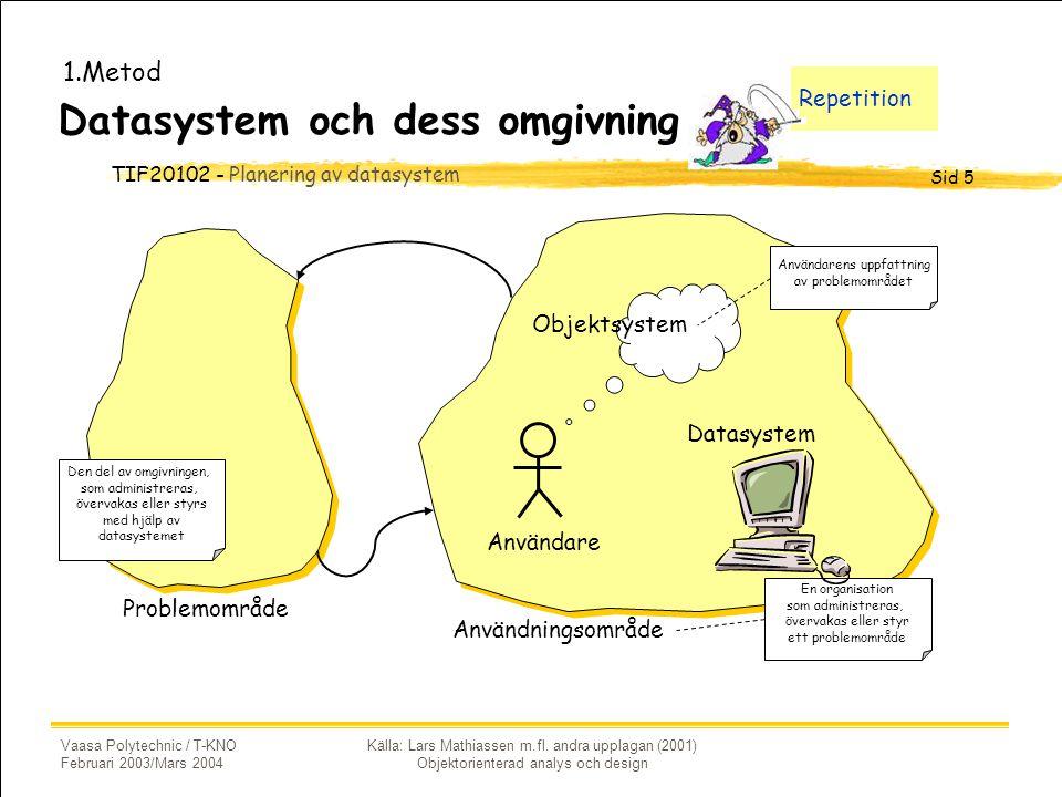 TIF20102 - Planering av datasystem Sid 5 Vaasa Polytechnic / T-KNO Februari 2003/Mars 2004 Källa: Lars Mathiassen m.fl.