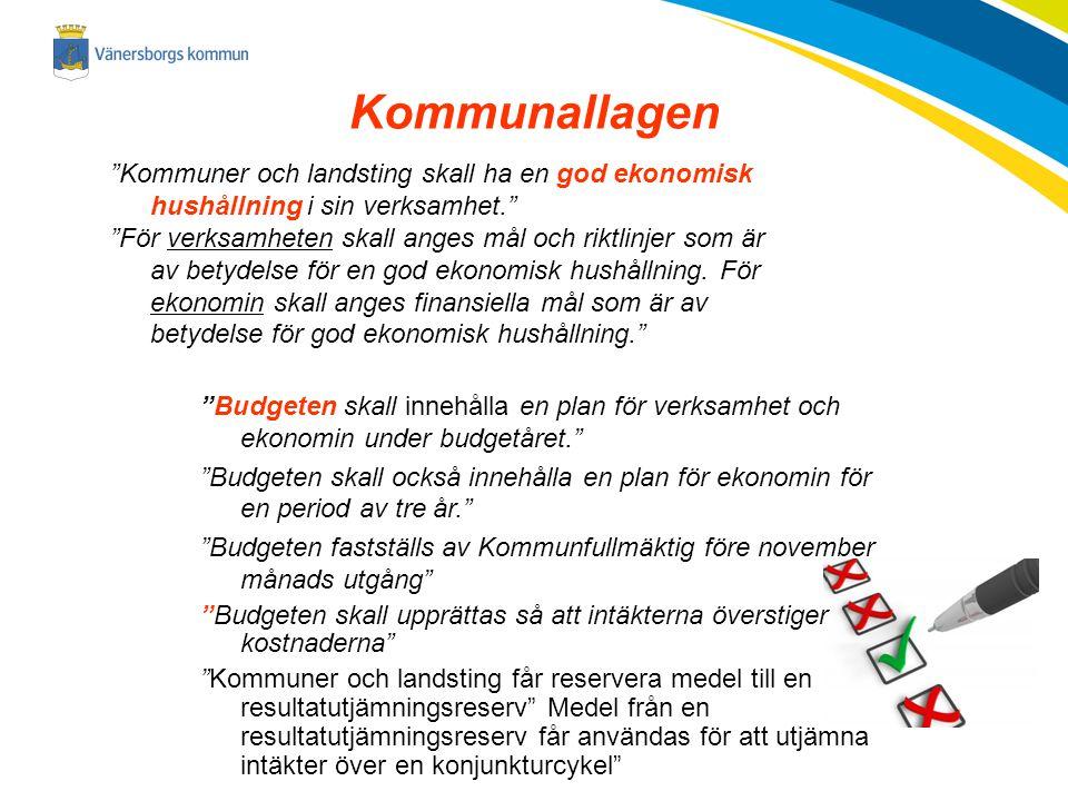 """Kommunallagen """"Kommuner och landsting skall ha en god ekonomisk hushållning i sin verksamhet."""" """"För verksamheten skall anges mål och riktlinjer som är"""