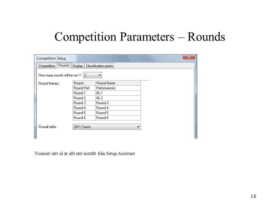 18 Competition Parameters – Rounds Normalt sätt så är allt rätt inställt från Setup Assistant