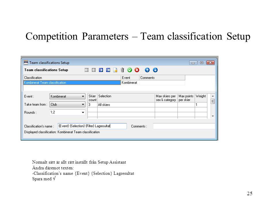 25 Competition Parameters – Team classification Setup Normalt sätt är allt rätt inställt från Setup Assistant Ändra däremot texten: -Classification's name {Event} {Selection} Lagresultat Spara med 