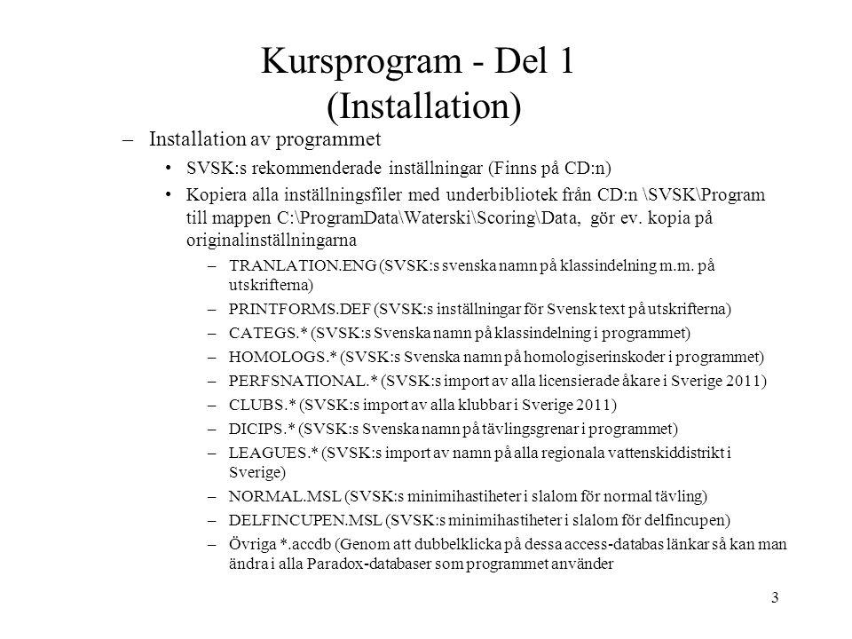 3 Kursprogram - Del 1 (Installation) –Installation av programmet SVSK:s rekommenderade inställningar (Finns på CD:n) Kopiera alla inställningsfiler med underbibliotek från CD:n \SVSK\Program till mappen C:\ProgramData\Waterski\Scoring\Data, gör ev.