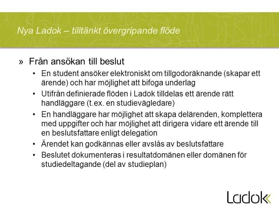 Nya Ladok – tilltänkt övergripande flöde »Från ansökan till beslut En student ansöker elektroniskt om tillgodoräknande (skapar ett ärende) och har möj