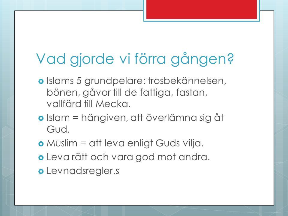 Vad gjorde vi förra gången?  Islams 5 grundpelare: trosbekännelsen, bönen, gåvor till de fattiga, fastan, vallfärd till Mecka.  Islam = hängiven, at