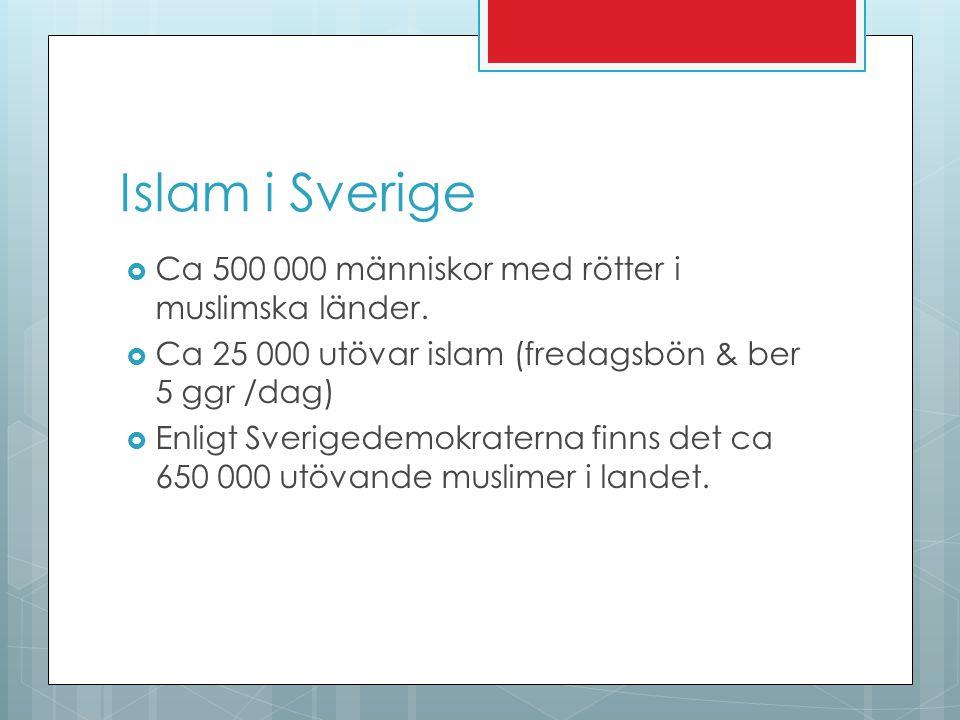 Islam i Sverige  Ca 500 000 människor med rötter i muslimska länder.  Ca 25 000 utövar islam (fredagsbön & ber 5 ggr /dag)  Enligt Sverigedemokrate