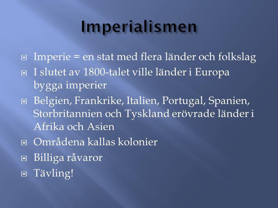  Imperie = en stat med flera länder och folkslag  I slutet av 1800-talet ville länder i Europa bygga imperier  Belgien, Frankrike, Italien, Portuga