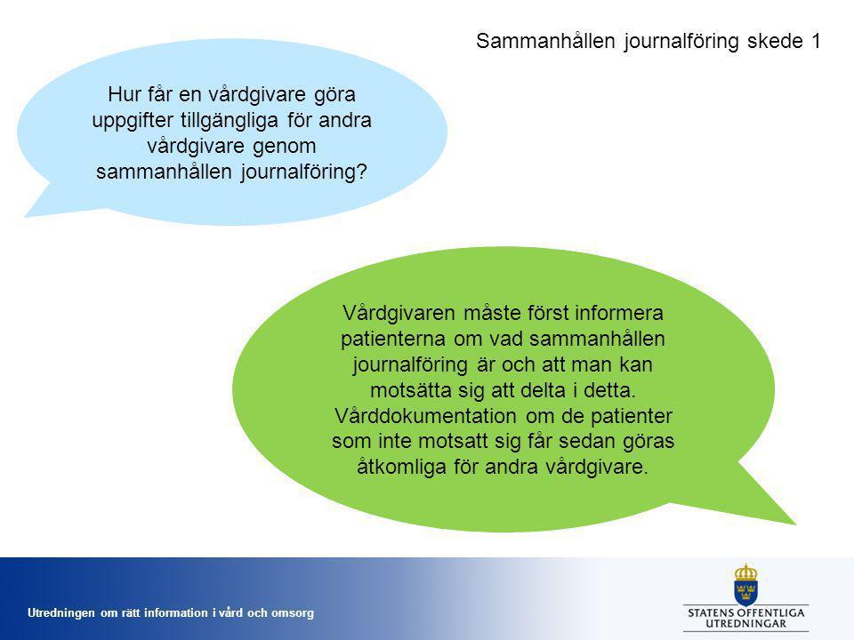Utredningen om rätt information i vård och omsorg Hur får en vårdgivare göra uppgifter tillgängliga för andra vårdgivare genom sammanhållen journalför