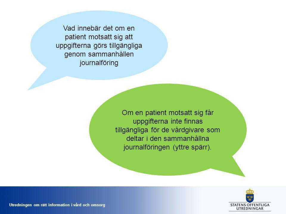 Utredningen om rätt information i vård och omsorg Vad innebär det om en patient motsatt sig att uppgifterna görs tillgängliga genom sammanhållen journ