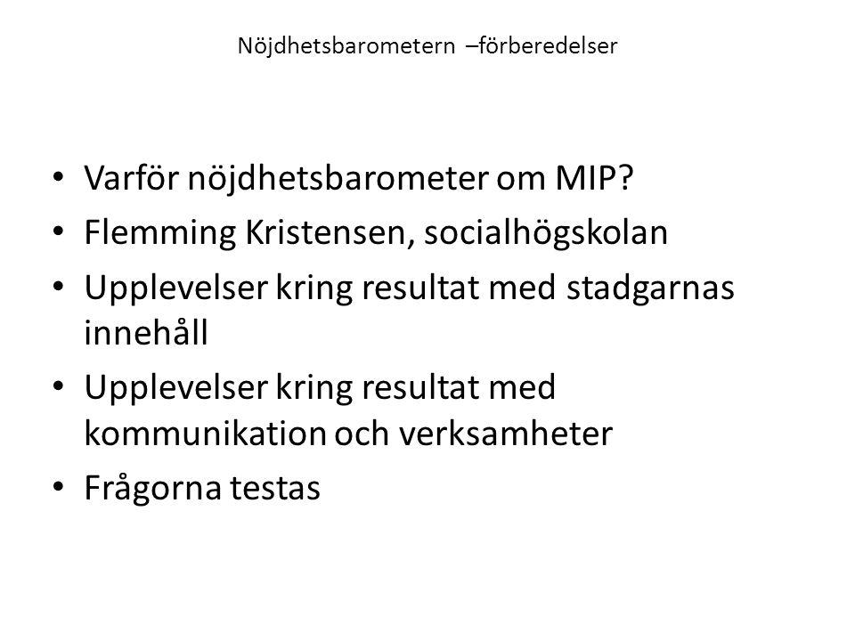 Nöjdhetsbarometern –förberedelser Varför nöjdhetsbarometer om MIP.