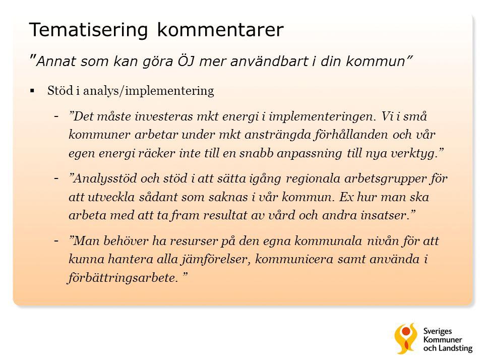 """Tematisering kommentarer """" Annat som kan göra ÖJ mer användbart i din kommun""""  Stöd i analys/implementering - """"Det måste investeras mkt energi i impl"""