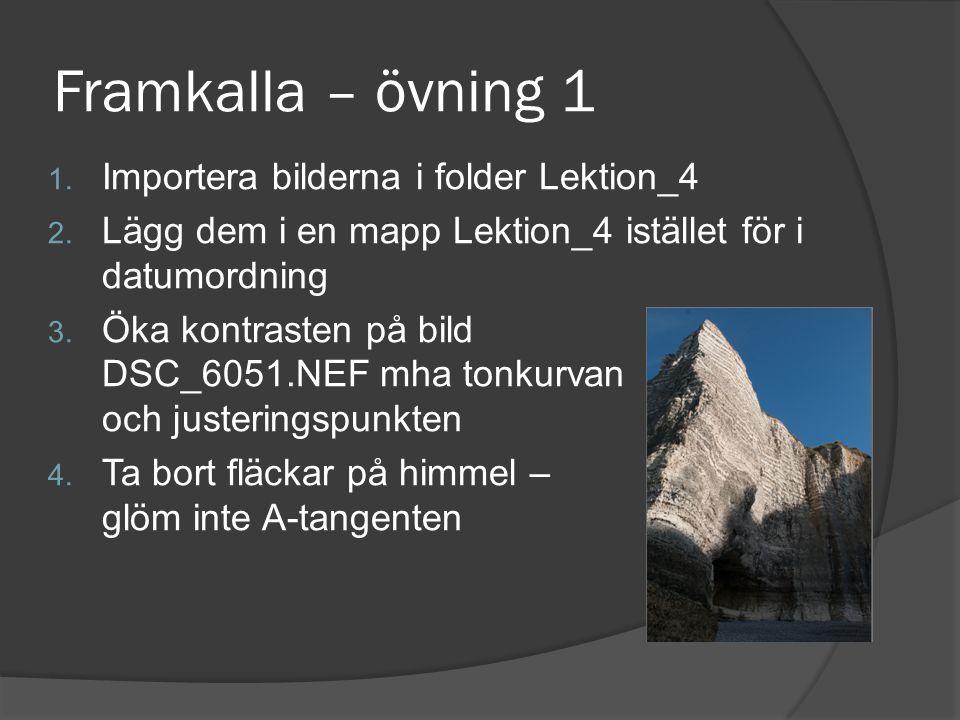 Framkalla – övning 1 1. Importera bilderna i folder Lektion_4 2. Lägg dem i en mapp Lektion_4 istället för i datumordning 3. Öka kontrasten på bild DS