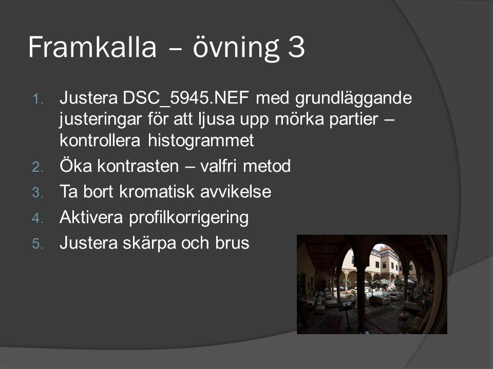 Framkalla – övning 3 1. Justera DSC_5945.NEF med grundläggande justeringar för att ljusa upp mörka partier – kontrollera histogrammet 2. Öka kontraste