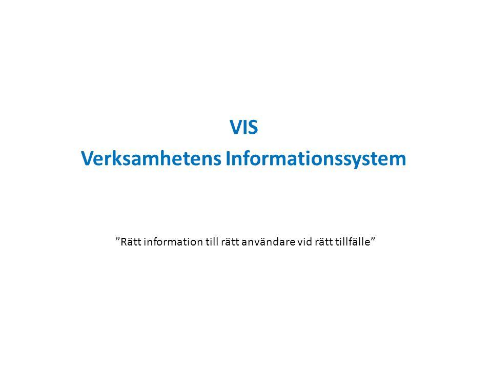 """VIS Verksamhetens Informationssystem """"Rätt information till rätt användare vid rätt tillfälle"""""""