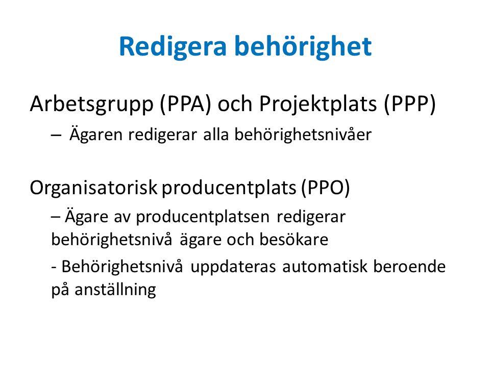 Redigera behörighet Arbetsgrupp (PPA) och Projektplats (PPP) – Ägaren redigerar alla behörighetsnivåer Organisatorisk producentplats (PPO) – Ägare av
