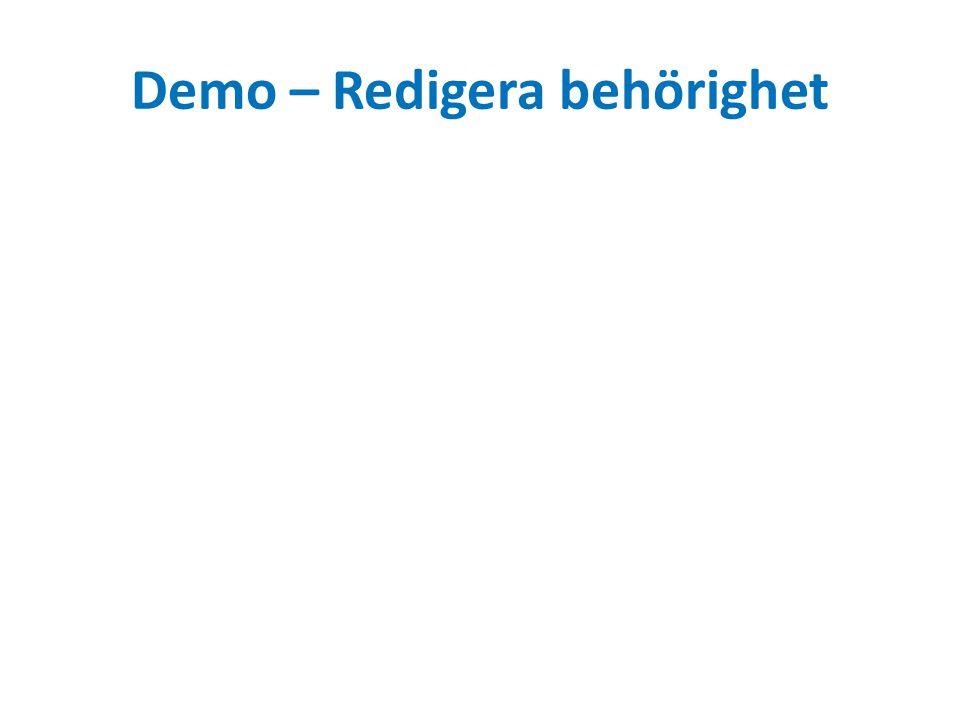 Demo – Redigera behörighet