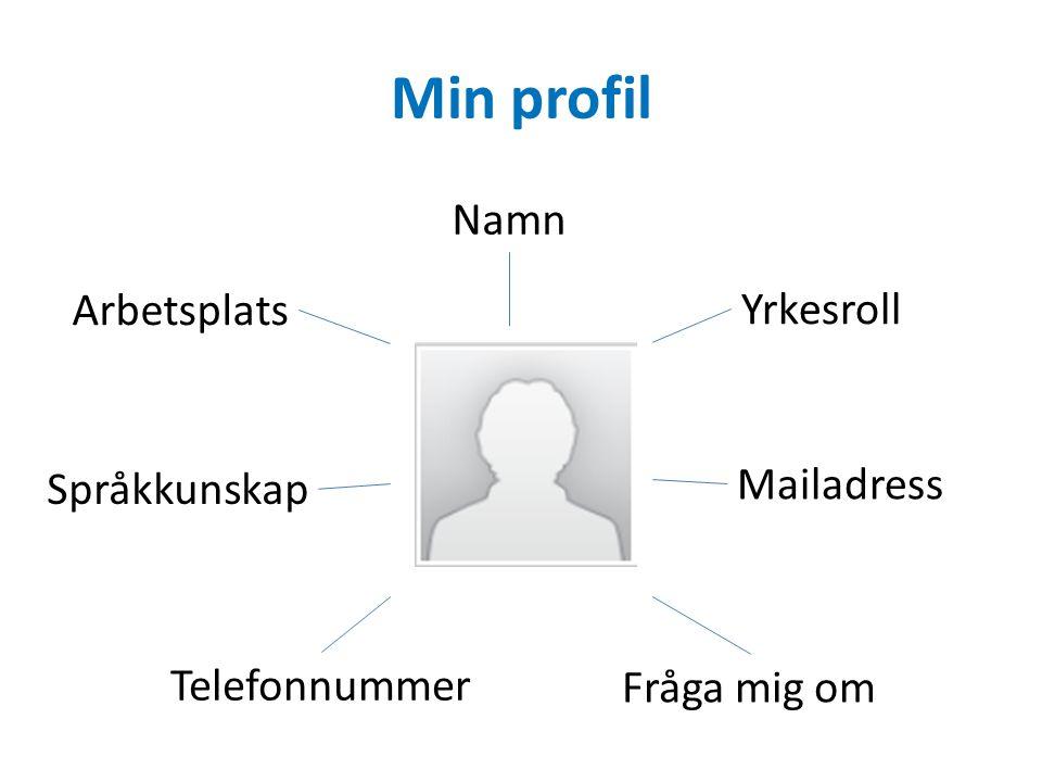 Min profil Namn Arbetsplats Yrkesroll Mailadress Telefonnummer Språkkunskap Fråga mig om