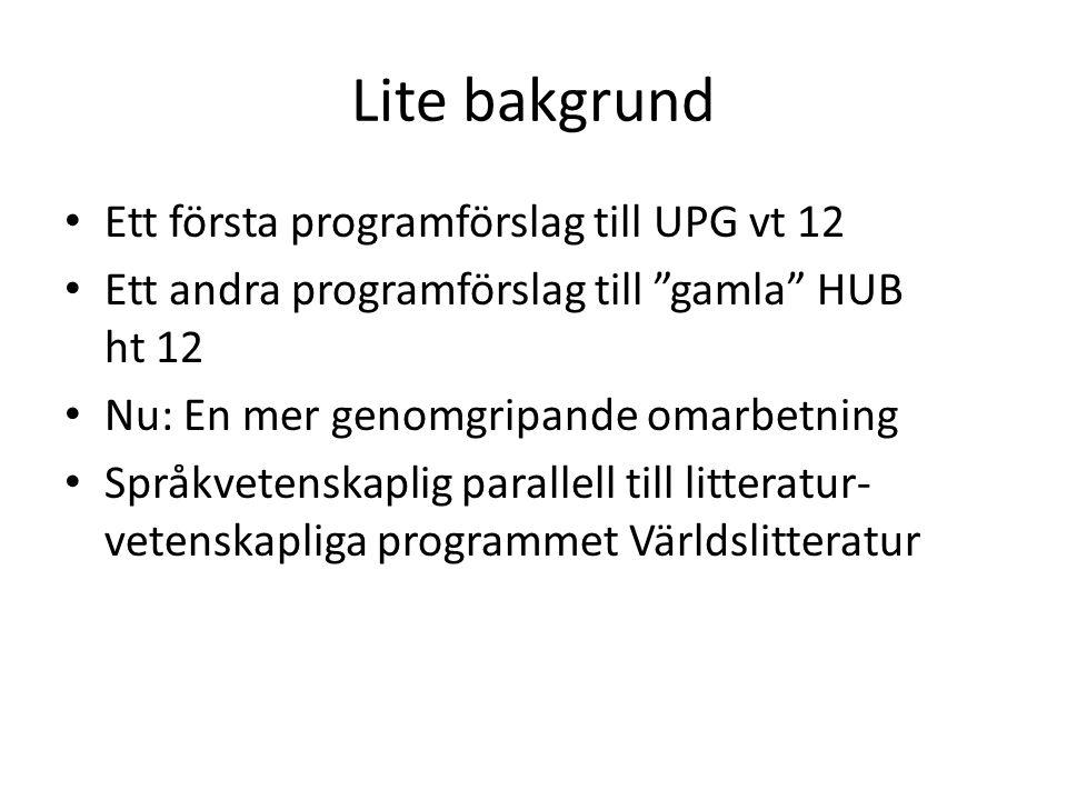 """Lite bakgrund Ett första programförslag till UPG vt 12 Ett andra programförslag till """"gamla"""" HUB ht 12 Nu: En mer genomgripande omarbetning Språkveten"""