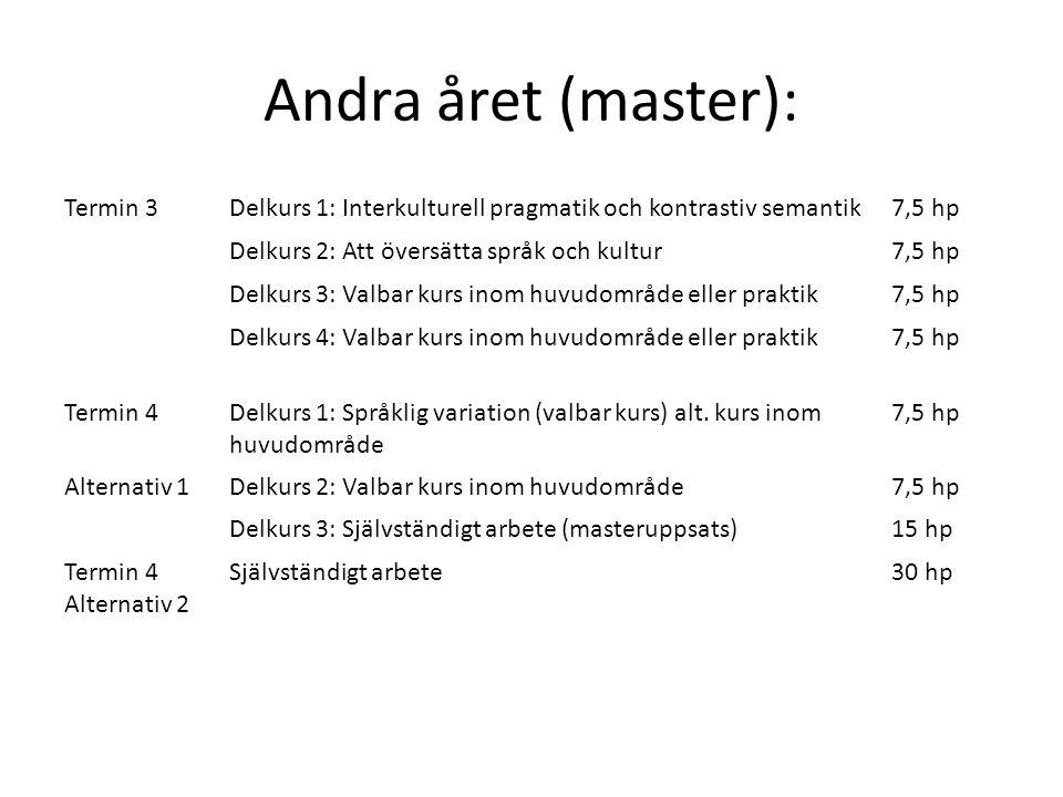 Andra året (master): Termin 3Delkurs 1: Interkulturell pragmatik och kontrastiv semantik7,5 hp Delkurs 2: Att översätta språk och kultur7,5 hp Delkurs