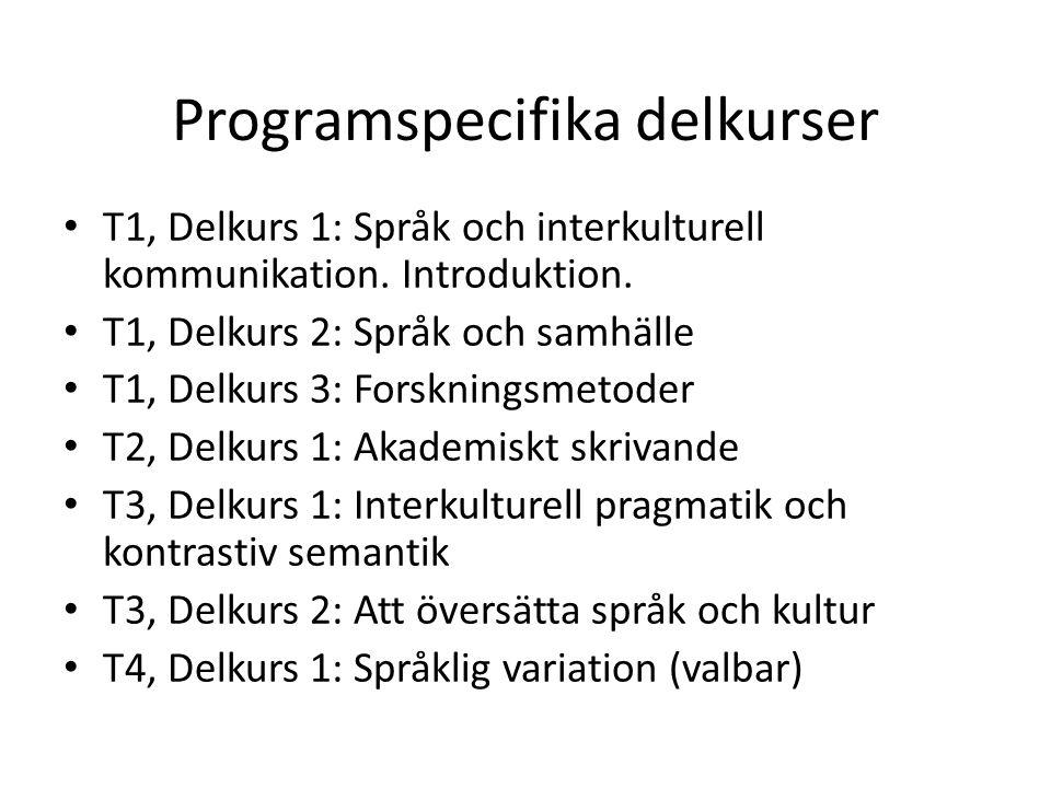 Programspecifika delkurser T1, Delkurs 1: Språk och interkulturell kommunikation. Introduktion. T1, Delkurs 2: Språk och samhälle T1, Delkurs 3: Forsk