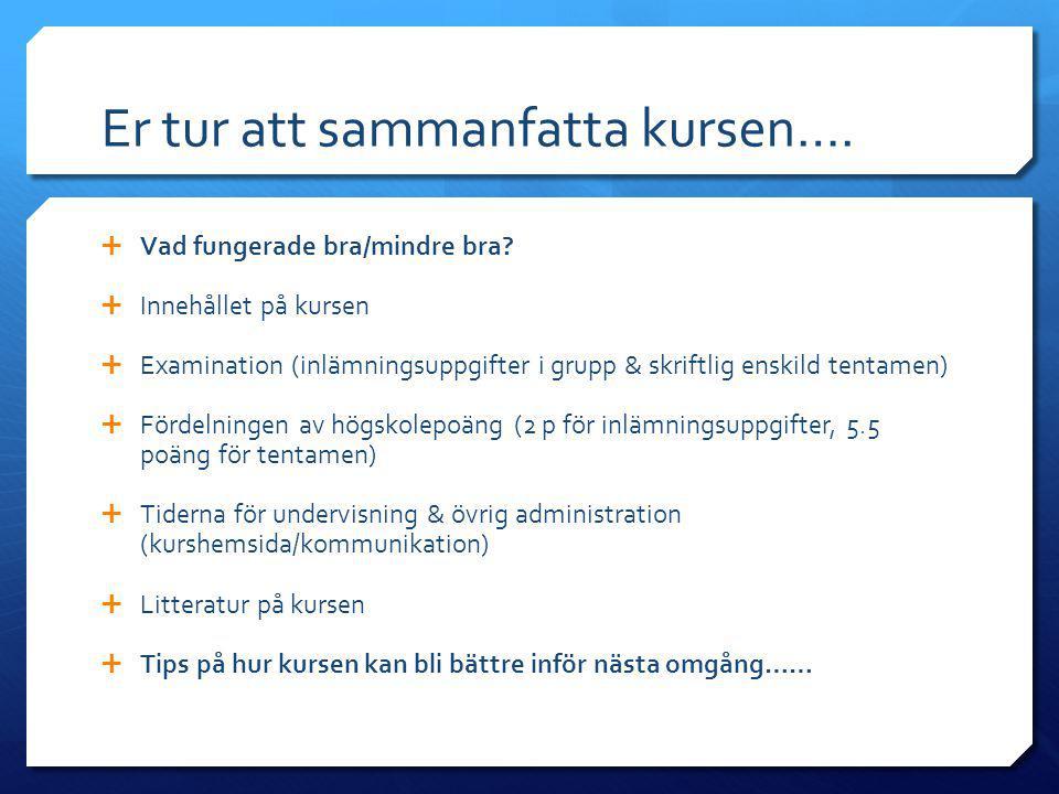 Er tur att sammanfatta kursen….  Vad fungerade bra/mindre bra?  Innehållet på kursen  Examination (inlämningsuppgifter i grupp & skriftlig enskild