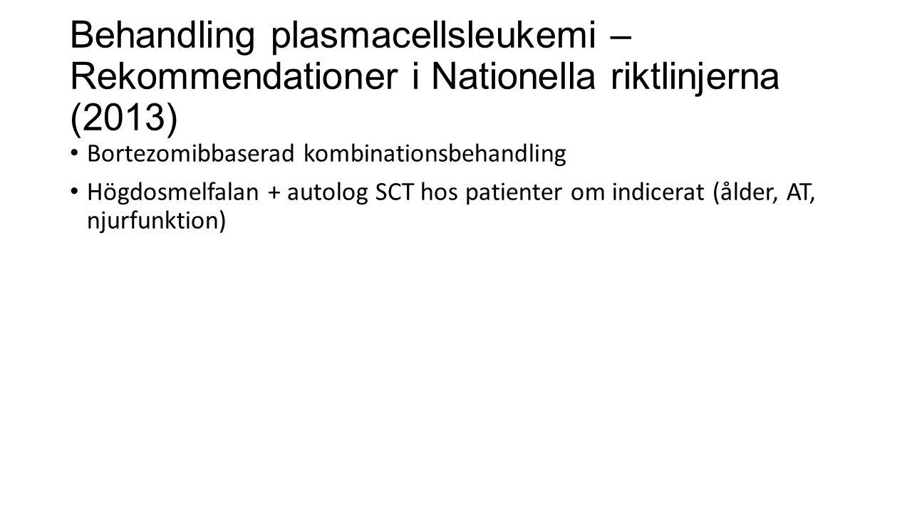 Behandling plasmacellsleukemi – Rekommendationer i Nationella riktlinjerna (2013) Bortezomibbaserad kombinationsbehandling Högdosmelfalan + autolog SC