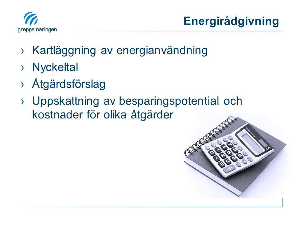 Energirådgivning ›Kartläggning av energianvändning ›Nyckeltal ›Åtgärdsförslag ›Uppskattning av besparingspotential och kostnader för olika åtgärder