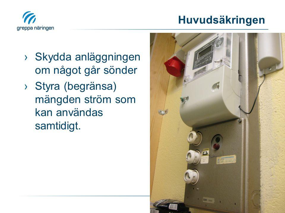 Huvudsäkringen ›Skydda anläggningen om något går sönder ›Styra (begränsa) mängden ström som kan användas samtidigt.