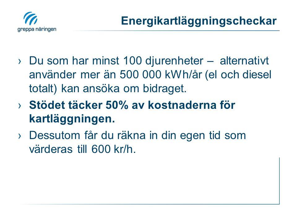Energikartläggningscheckar ›Du som har minst 100 djurenheter – alternativt använder mer än 500 000 kWh/år (el och diesel totalt) kan ansöka om bidraget.