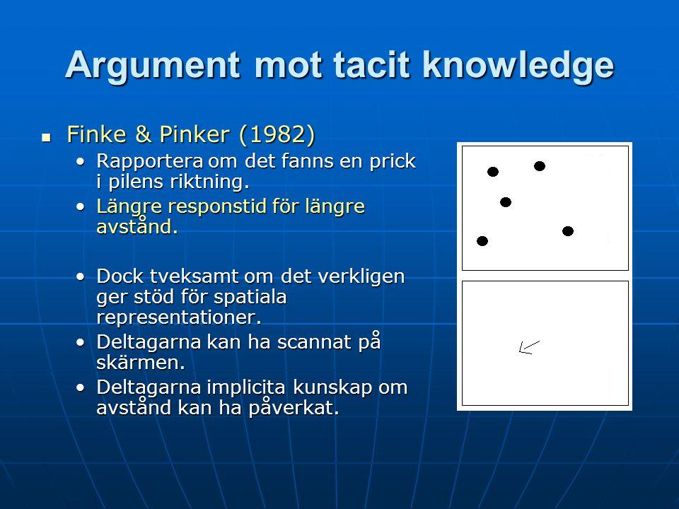 Argument mot tacit knowledge Finke & Pinker (1982) Finke & Pinker (1982) Rapportera om det fanns en prick i pilens riktning.Rapportera om det fanns en prick i pilens riktning.