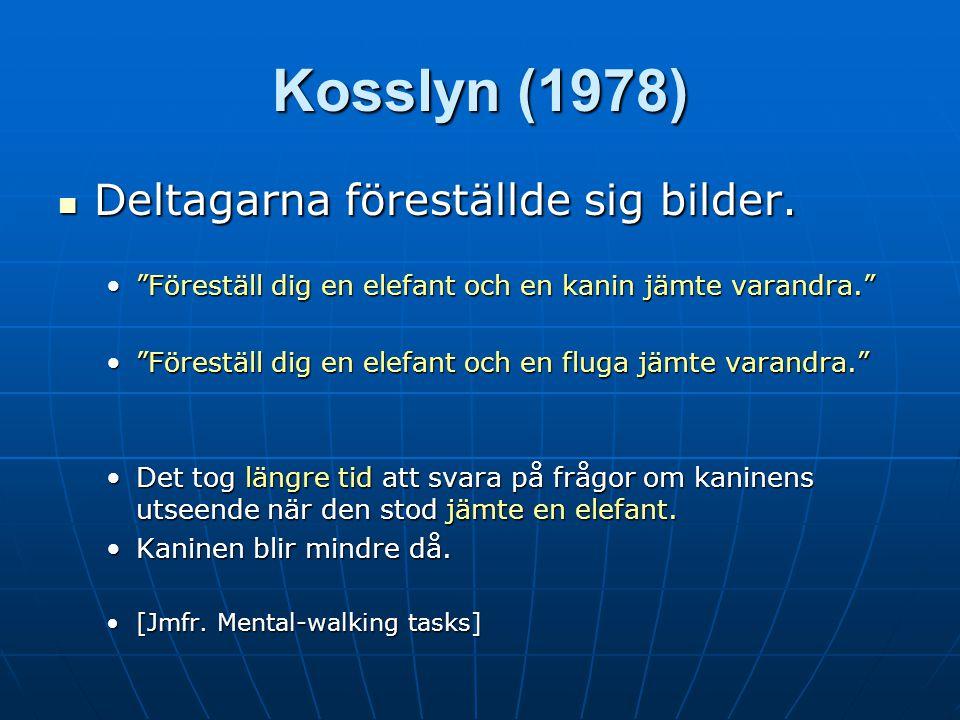 Kosslyn (1978) Deltagarna föreställde sig bilder.Deltagarna föreställde sig bilder.