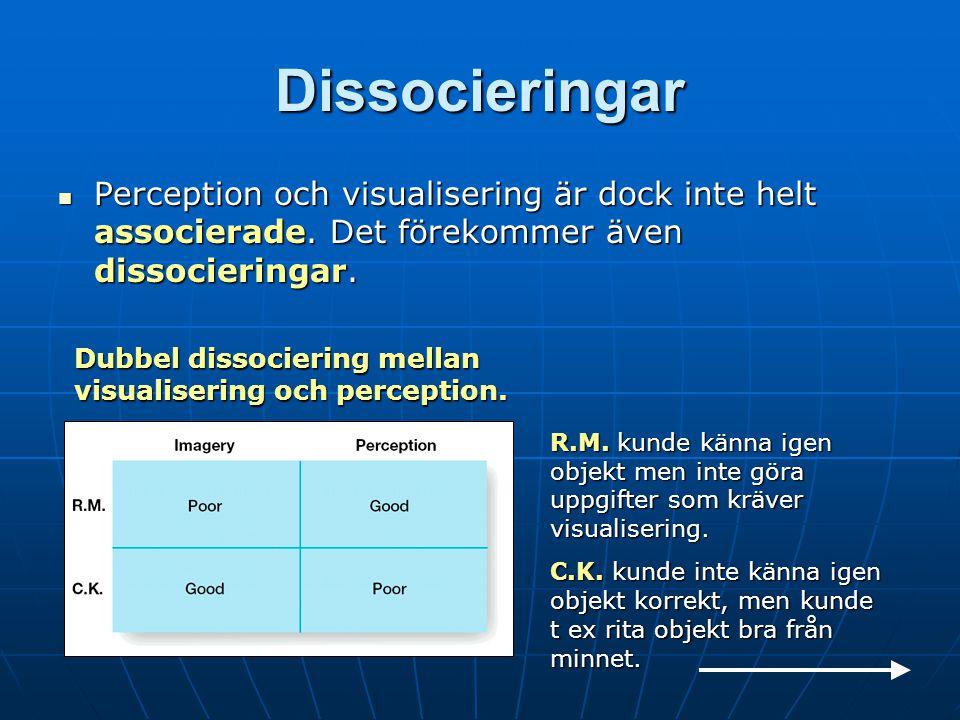Dissocieringar Perception och visualisering är dock inte helt associerade.