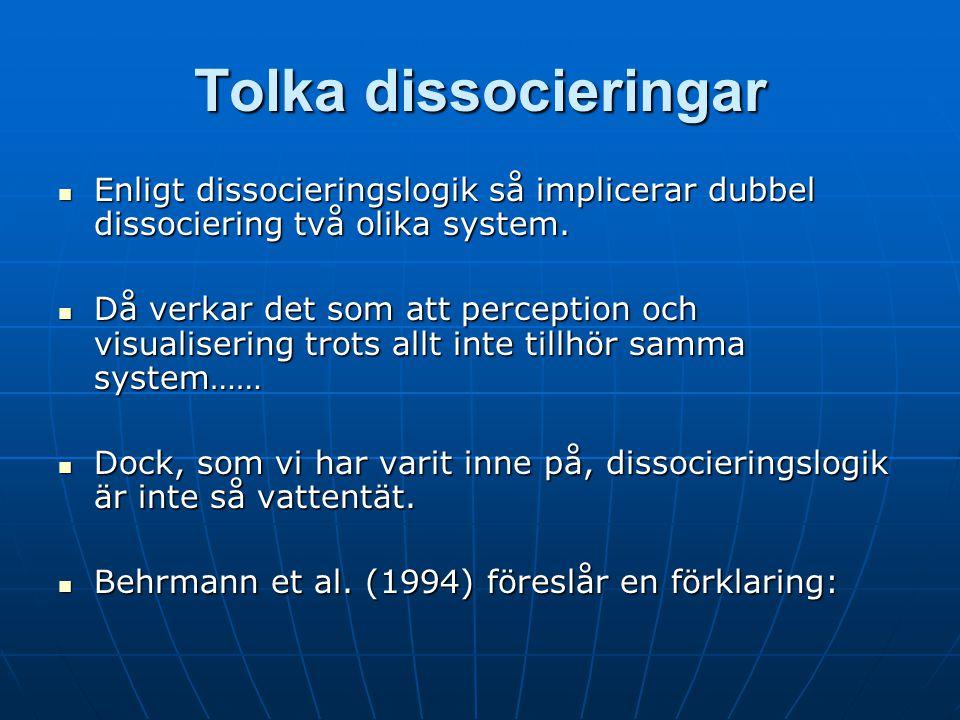 Tolka dissocieringar Enligt dissocieringslogik så implicerar dubbel dissociering två olika system.