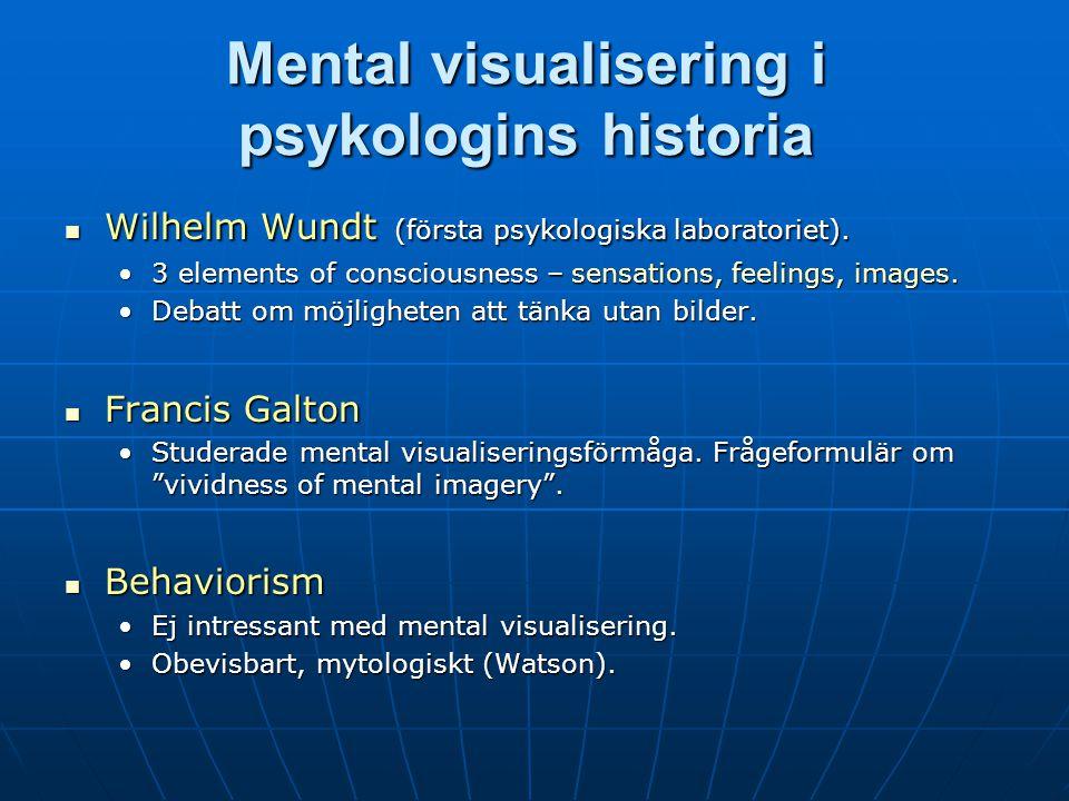 Mental visualisering i psykologins historia Wilhelm Wundt (första psykologiska laboratoriet).