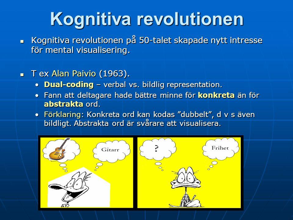 Kognitiva revolutionen Kognitiva revolutionen på 50-talet skapade nytt intresse för mental visualisering.