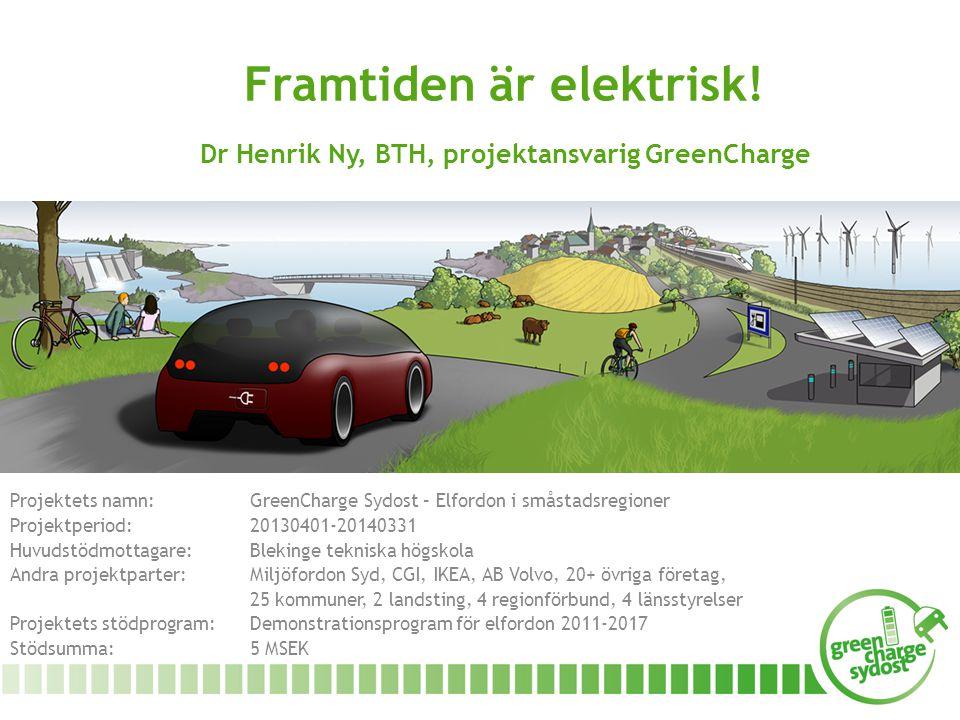 Framtiden är elektrisk! Dr Henrik Ny, BTH, projektansvarig GreenCharge Projektets namn: GreenCharge Sydost – Elfordon i småstadsregioner Projektperiod