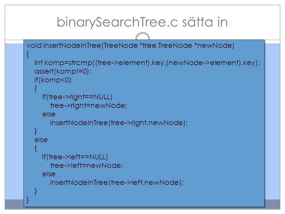 binarySearchTree.c sätta in void insertNodeInTree(TreeNode *tree,TreeNode *newNode) { int komp=strcmp((tree->element).key,(newNode->element).key); assert(komp!=0); if(komp<0) { if(tree->right==NULL) tree->right=newNode; else insertNodeInTree(tree->right,newNode); } else { if(tree->left==NULL) tree->left=newNode; else insertNodeInTree(tree->left,newNode); } void insertNodeInTree(TreeNode *tree,TreeNode *newNode) { int komp=strcmp((tree->element).key,(newNode->element).key); assert(komp!=0); if(komp<0) { if(tree->right==NULL) tree->right=newNode; else insertNodeInTree(tree->right,newNode); } else { if(tree->left==NULL) tree->left=newNode; else insertNodeInTree(tree->left,newNode); }