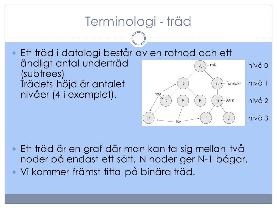 Terminologi - träd Ett träd i datalogi består av en rotnod och ett ändligt antal underträd (subtrees) Trädets höjd är antalet nivåer (4 i exemplet).
